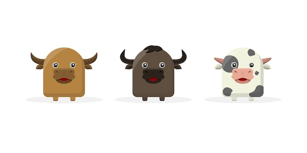 Mascotte del personaggio dei cartoni animati di mucca carina