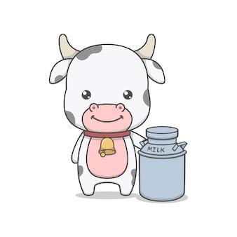 Simpatico personaggio di mucca e lattina di latte