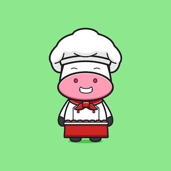 Carino mucca chef mascotte icona del fumetto. design piatto isolato in stile cartone animato