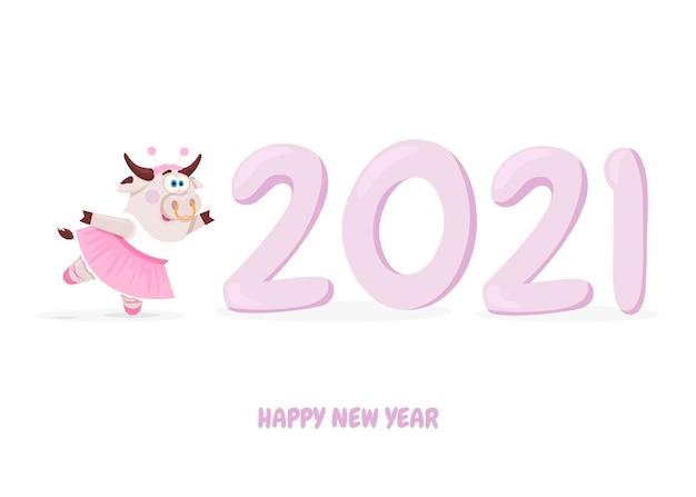 Simbolo cinese della mucca sveglia e felice anno nuovo