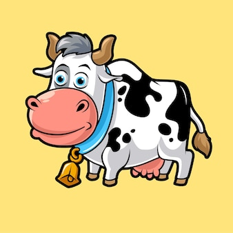 Mucca carina, illustrazione vettoriale mascotte divertente