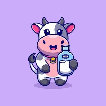 Cartone animato carino mucca che tiene bottiglia di latte