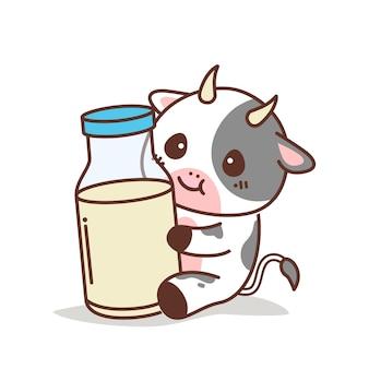 Mucca carina che tiene una bottiglia di latte