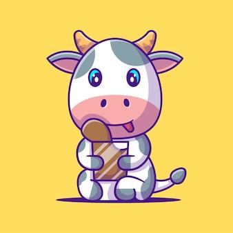 Mucca sveglia che tiene l'illustrazione del fumetto del latte al cioccolato. concetto di stile del fumetto piatto animale