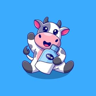 Cartone animato carino mucca che tiene il latte