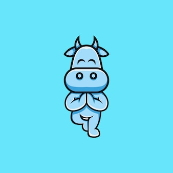 Illustrazione di mucca carina che fa yoga in stile cartone animato