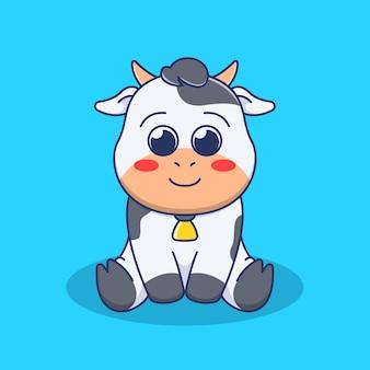 Simpatica illustrazione di mucca in design piatto