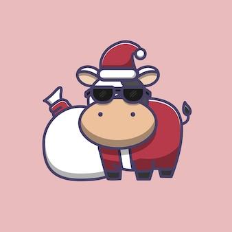 Illustrazione di mucca carina che indossa costume da babbo natale e occhiali da sole