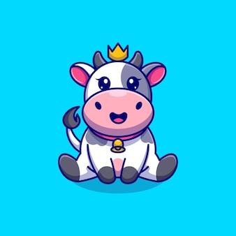Simpatico re mucca è seduto cartone animato