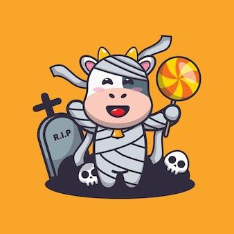 Simpatica mummia di mucca che tiene caramelle simpatica illustrazione di cartone animato di halloween