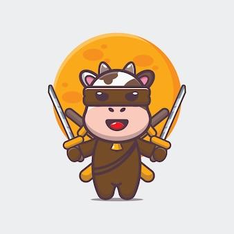 Simpatica mucca ninja icona del fumetto illustrazione vettoriale
