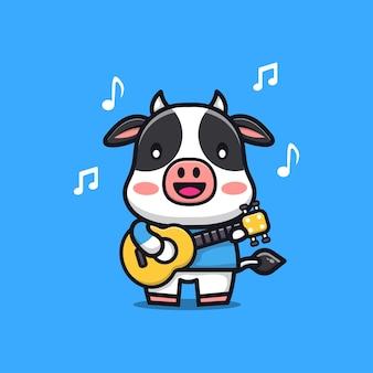 Mucca sveglia che gioca l'illustrazione del personaggio dei cartoni animati della chitarra