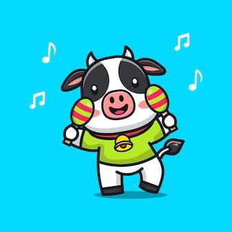 Mucca sveglia che gioca l & # 39; illustrazione del fumetto delle maracas
