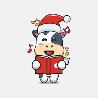 La mucca carina canta una canzone di natale illustrazione di cartone animato carino di natale