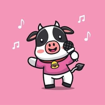 La mucca sveglia canta un'illustrazione del personaggio dei cartoni animati di canzone
