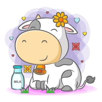 Mucca carina seduta e sorridente con una bottiglia di latte