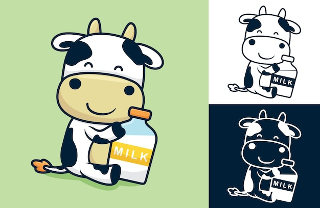 Simpatica mucca seduta mentre si tiene una grande bottiglia di latte. illustrazione di cartone animato in stile piatto