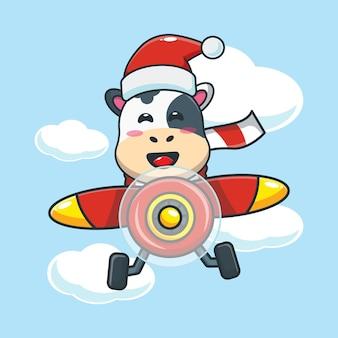 La mucca carina che indossa il cappello di babbo natale vola con l'aereo illustrazione di cartone animato carino natale