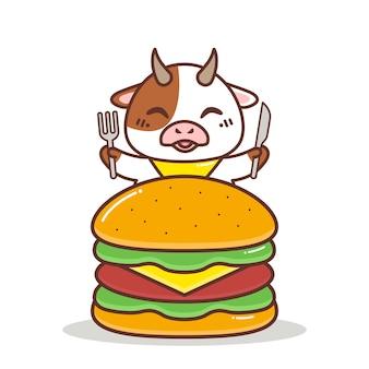 Mucca carina con un grande hamburger