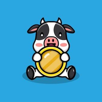 Illustrazione di mucca carina con monete coins