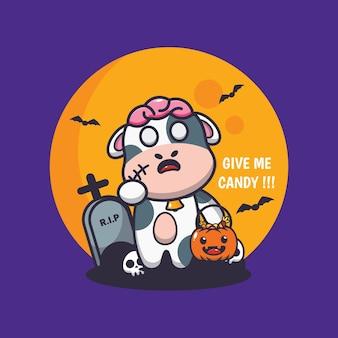 Carino zombie mucca vuole caramelle carino halloween fumetto illustrazione