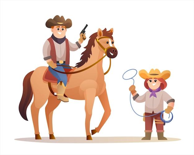 Simpatico cowboy che tiene la pistola mentre cavalca un cavallo e una cowgirl che tiene in mano i personaggi della corda del lazo