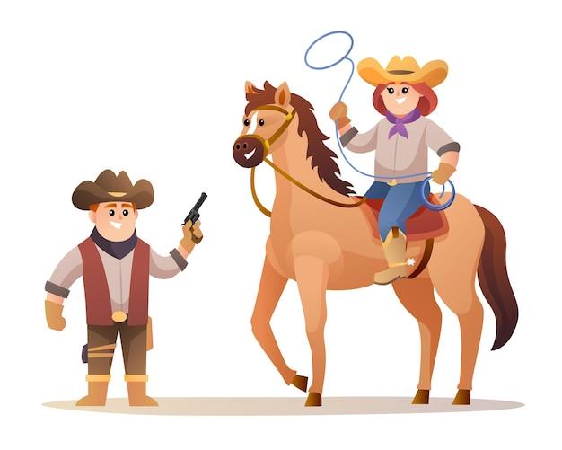 Simpatico cowboy che tiene pistole e cowgirl che tiene la corda del lazo mentre cavalca personaggi a cavallo