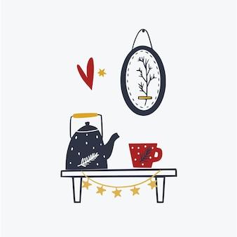 Simpatico biglietto di natale accogliente con tè e bollitore opere d'arte creative set invernale di decorazioni