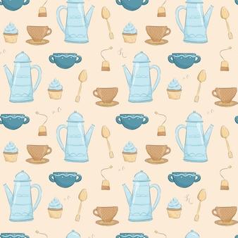 Modello senza cuciture accogliente carino. tazze e teiera con tè, bustina di tè, muffin e cucchiaino.