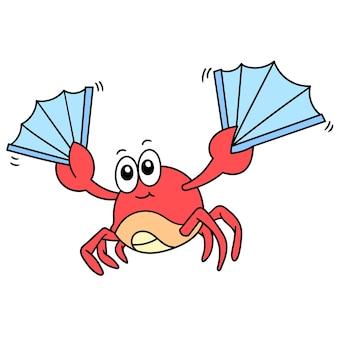 Simpatico granchio che trasporta ventaglio e balla felicemente, scarabocchiare l'immagine dell'icona. personaggio dei cartoni animati carino doodle disegnare