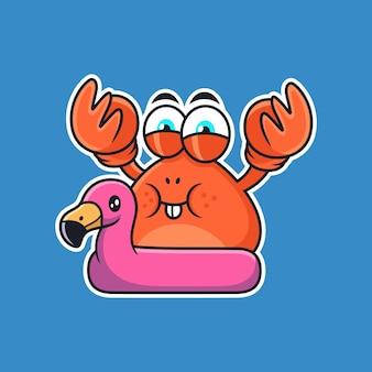 Simpatico cartone animato di granchio con pneumatici flamingo. illustrazione dell'icona di vettore animale, isolata su premium vector
