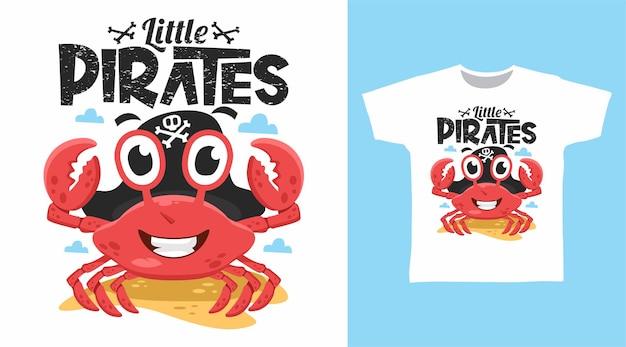 Simpatico disegno della maglietta dei pirati granchio