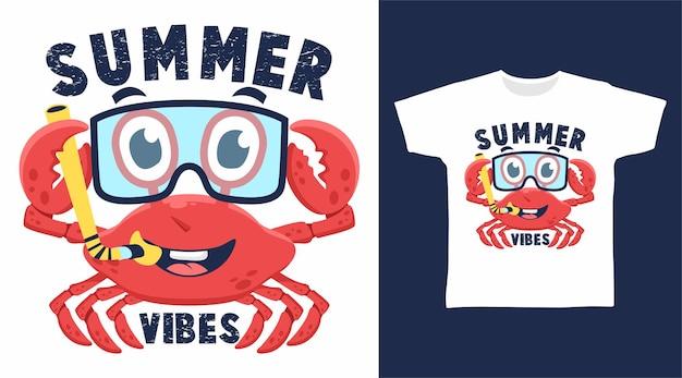 Simpatico disegno della maglietta con vibrazioni estive di granchio