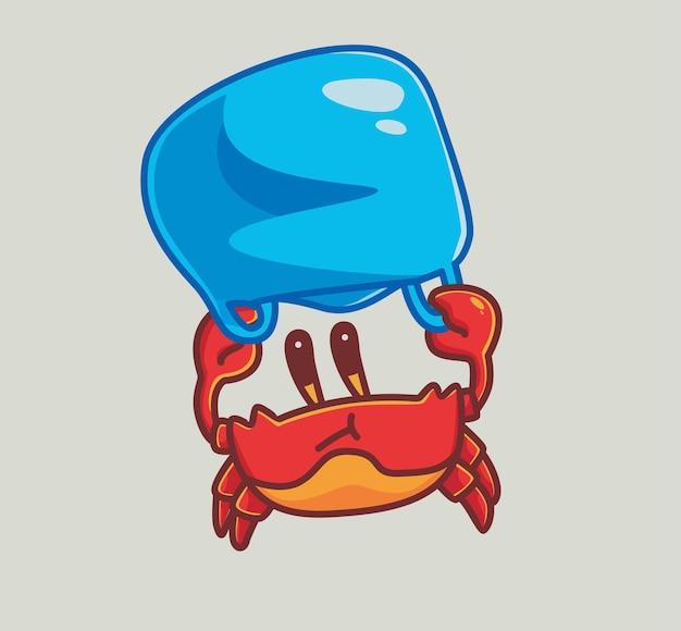 Granchio carino usando una plastica come paracadute. concetto di natura animale del fumetto illustrazione isolata. stile piatto adatto per sticker icon design premium logo vettoriale. personaggio mascotte