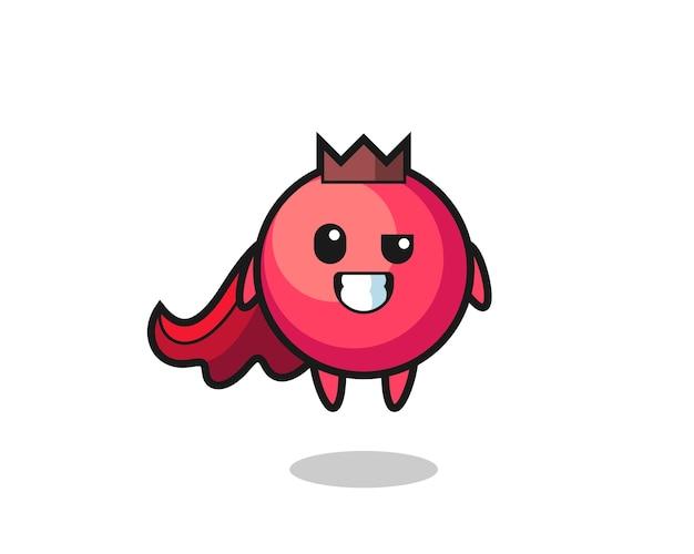 Il simpatico personaggio di mirtillo rosso come un supereroe volante, design in stile carino per maglietta, adesivo, elemento logo