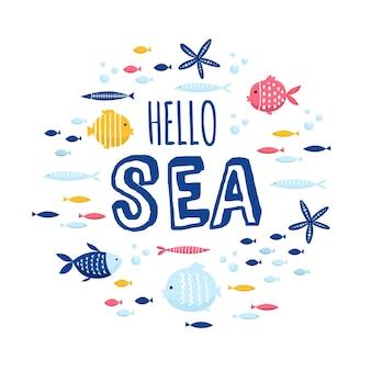 Simpatici modelli di carte creative con design a tema oceanico. illustrazione del fumetto di vettore. biglietto disegnato a mano per compleanni, anniversari, inviti per feste, album di ritagli.