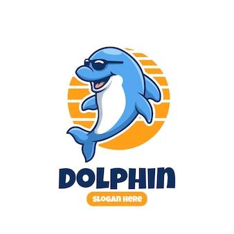 Carino creativo delfino indossare occhiali mascotte dei cartoni animati logo design