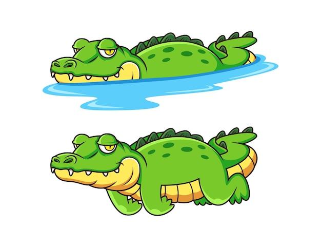 Simpatico cartone animato coccodrillo isolato su sfondo bianco