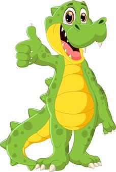 Simpatico cartone animato coccodrillo in piedi e pollice in alto