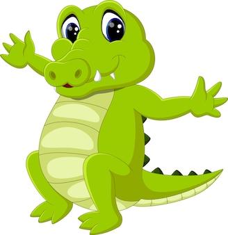 Simpatico cartone animato di coccodrillo