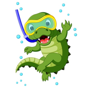 Cartone animato carino immersioni in coccodrillo