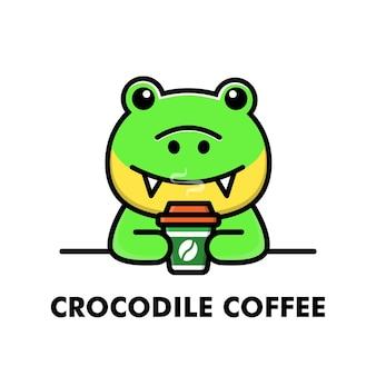 Simpatico coccodrillo bere tazza di caffè fumetto animale logo caffè illustrazione