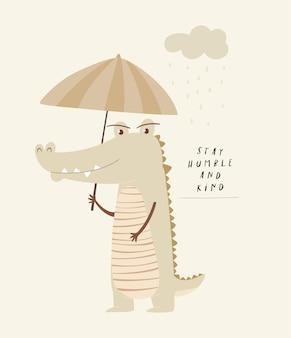 Illustrazione sveglia del coccodrillo per la stampa della scuola materna del bambino