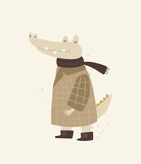 Illustrazione sveglia del coccodrillo per la scuola materna del bambino