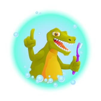 Il coccodrillo sveglio tiene lo spazzolino da denti