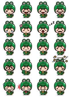 Set mascotte coccodrillo carino
