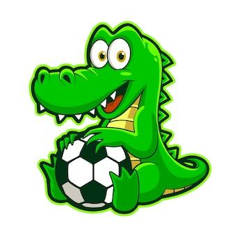 Simpatico coccodrillo che gioca a palla, illustrazione vettoriale mascotte divertente