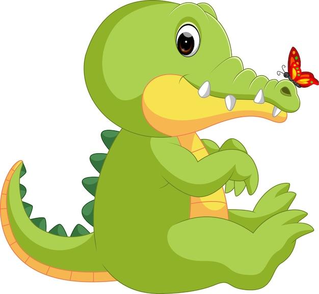 Simpatico coccodrillo con farfalla