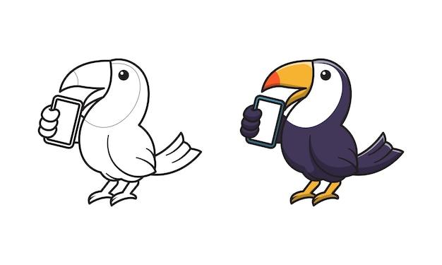 Simpatici cartoni animati di corvo da colorare per bambini