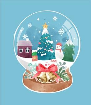 Sfera di cristallo sveglia con l'illustrazione dell'albero di natale e della città della neve